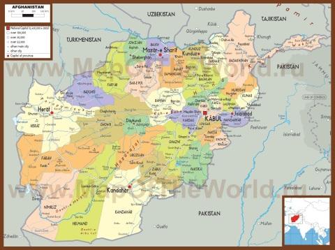 Политическая карта Афганистана с провинциями