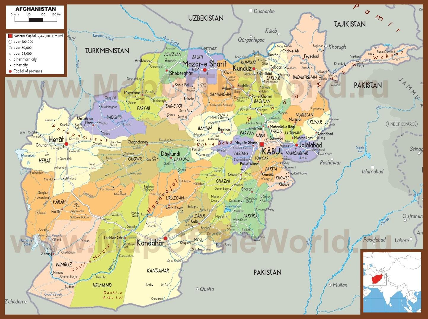 Политическая карта афганистана с