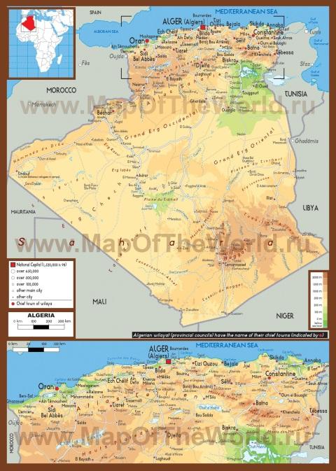 Физическая карта Алжира