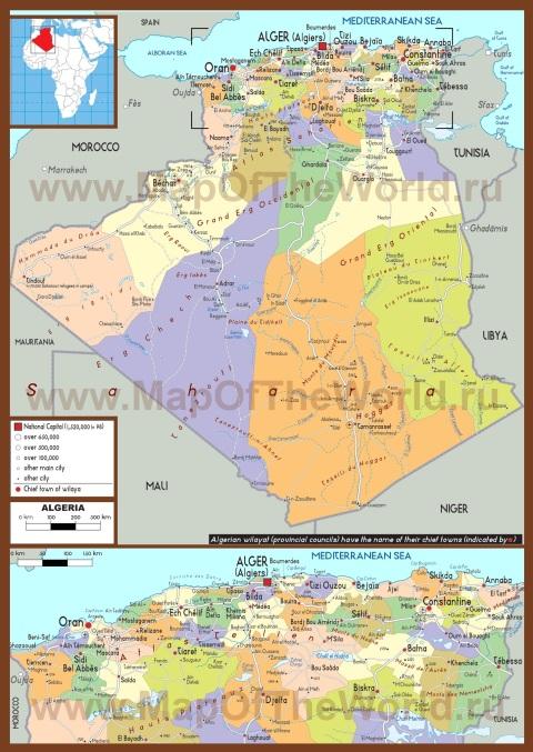 Политическая карта Алжира
