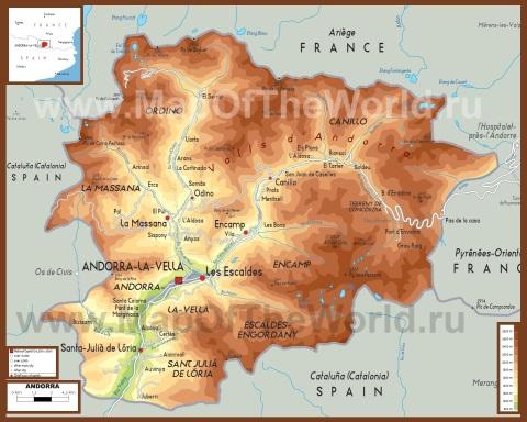 Физическая карта Андорры