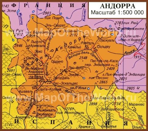 Подробная карта Андорры на русском языке