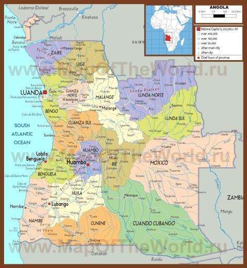Политическая карта Анголы