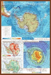 Физическая карта Антарктиды без льда