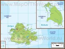 Физическая карта Антигуа и Барбуды
