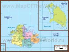 Подробная карта Антигуа и Барбуды