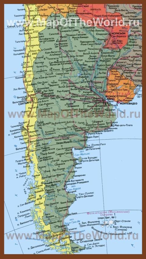 Подробная карта Аргентины на русском языке