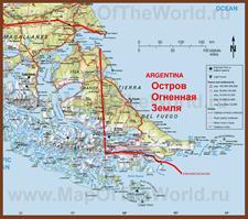 Подробная карта острова Огненная Земля