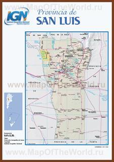 Подробная карта провинции Сан-Луис