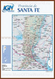 Подробная карта провинции Санта-Фе