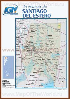 Подробная карта провинции Сантьяго-дель-Эстеро