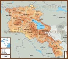 Физическая карта армении