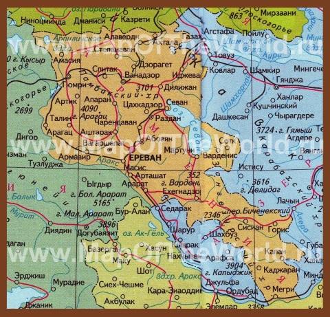 Карта Армении на русском языке