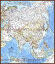 Подробная карта Азии с городами
