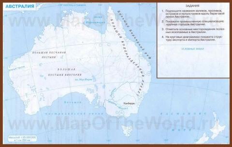 Контурная карта Австралии