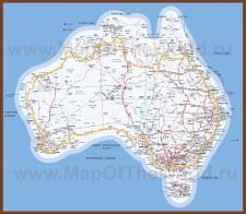 Подробная карта Австралии с городами