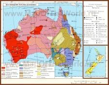 Полезные ископаемые на карте Австралии