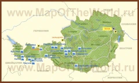 Карта горнолыжных курортов Австрии