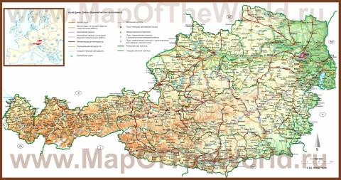 Подробная карта Австрии с городами