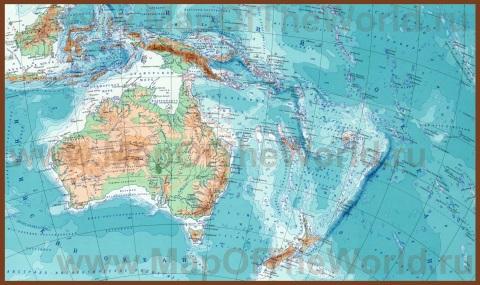 Подробная карта Австралии и Океании