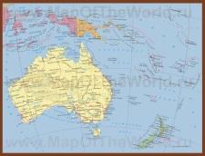 Политическая карта Австралии и Океании