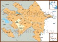 Политическая карта Азербайджана с городами