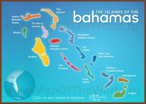 Карта Багам по островам