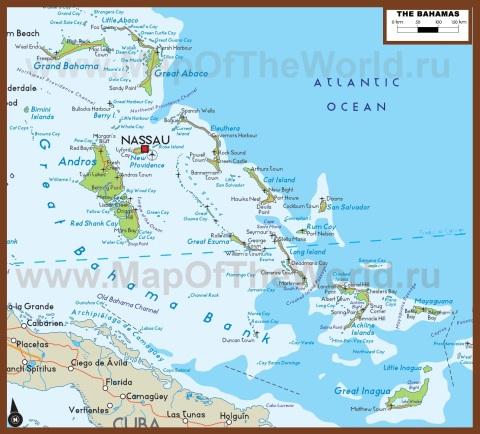 Подробная карта Багамских островов