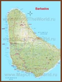 Подробная карта острова Барбадос