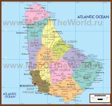 Политическая карта Барбадоса