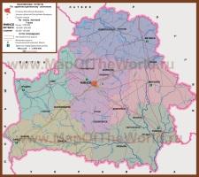 Карта Белоруссии по областям
