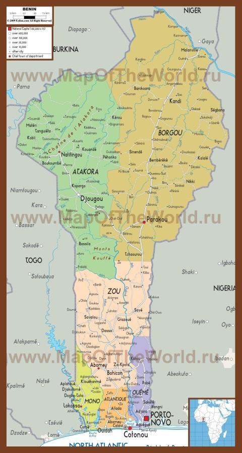 Политическая карта Бенина