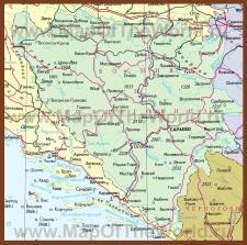 Подробная карта Боснии и Герцеговины на русском языке