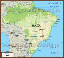 Физическая карта Бразилии