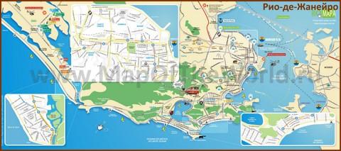 Туристическая карта Рио-де-Жанейро с достопримечательностями