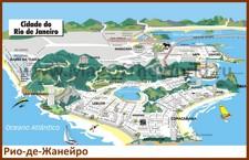 Туристическая карта Рио-де-Жанейро с отелями и пляжами