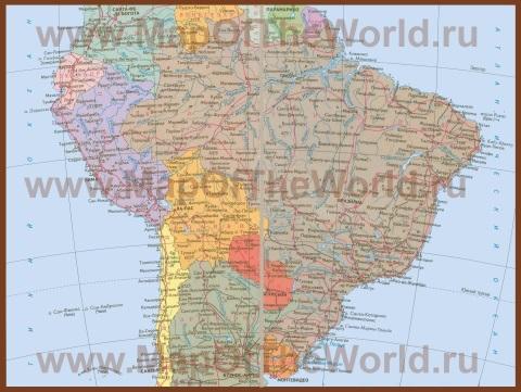 Подробная карта Бразилии на русском языке