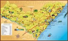 Подробная туристическая карта штата Алагоас