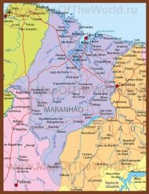 Подробная карта штата Мараньян
