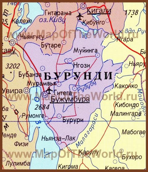 Карта Бурунди на русском языке