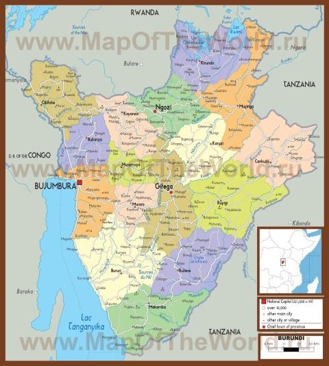 Подробная политическая карта Бурунди