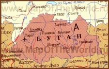 Карта Бутана на русском языке