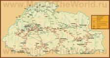 Подробная туристическая карта Бутана