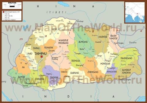Политическая карта Бутана
