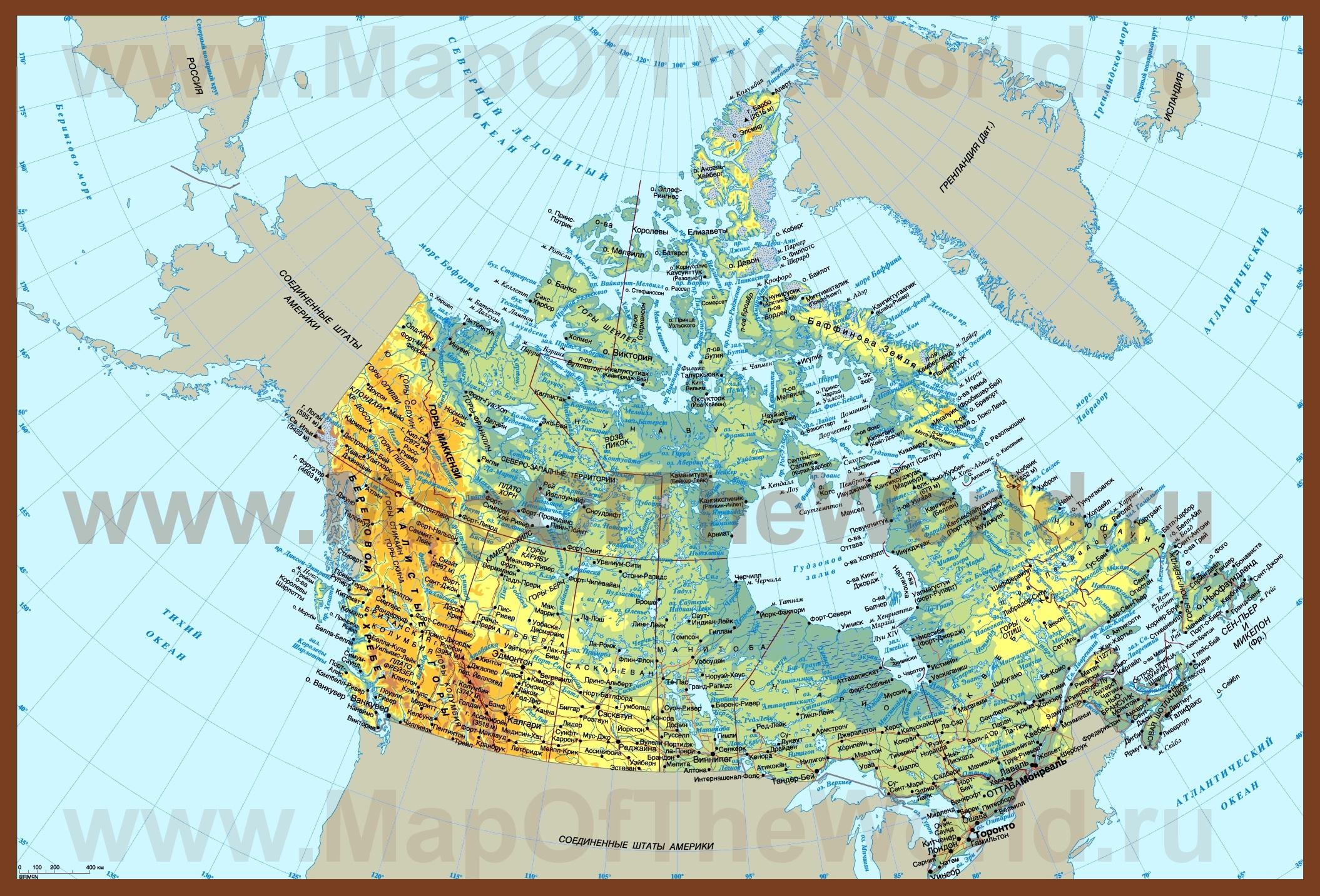 Карта канады на русском языке