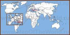 Черногория на карте мира и Европы