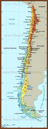 Карта Чили на русском языке