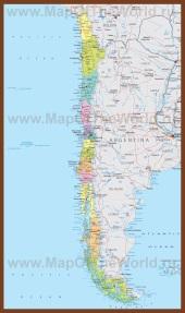 Подробная карта Чили с городами