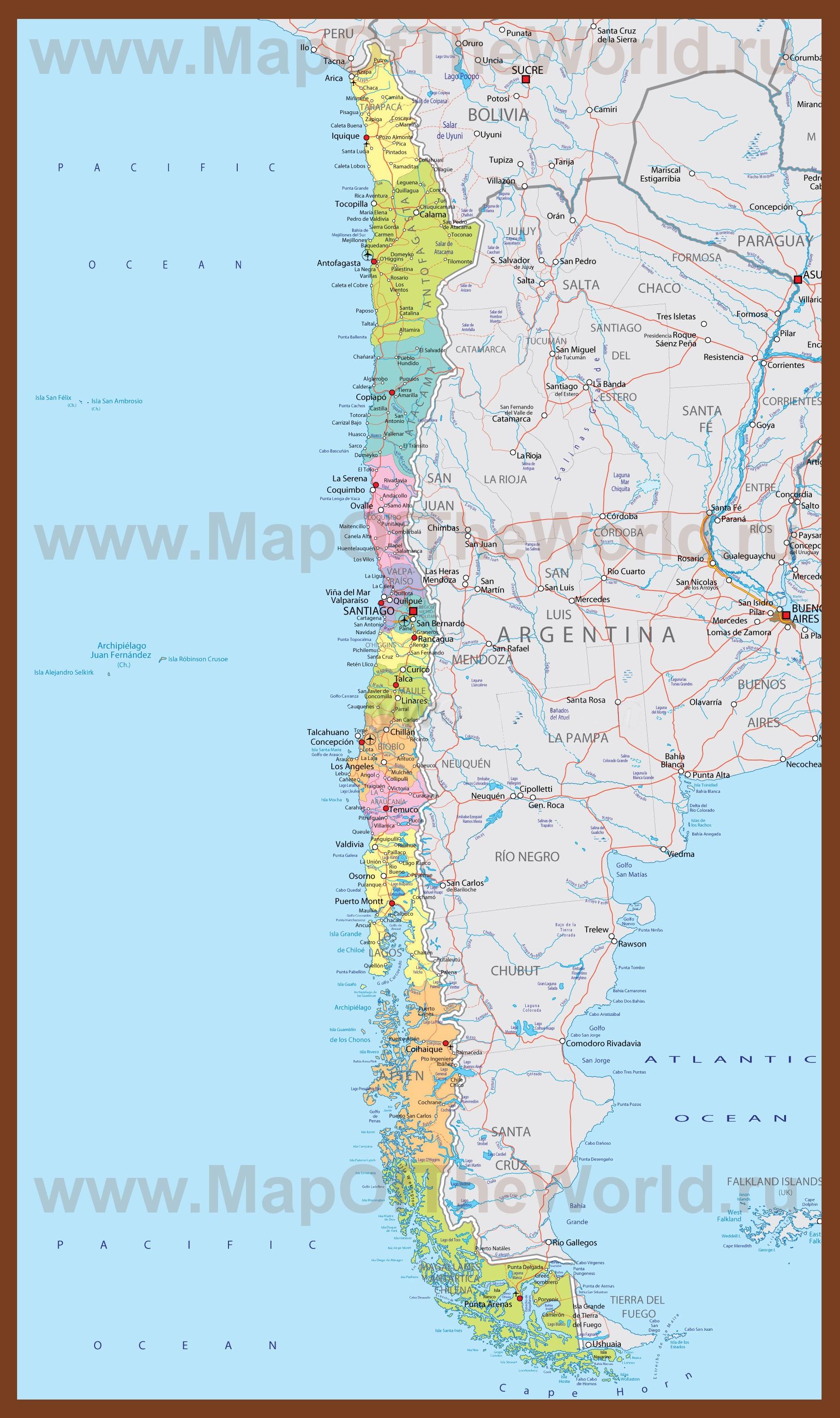Подробная карта Чили с городами Каспийское Море Карта