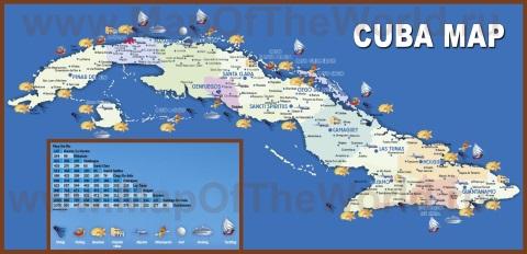 Туристическая карта Кубы с курортами